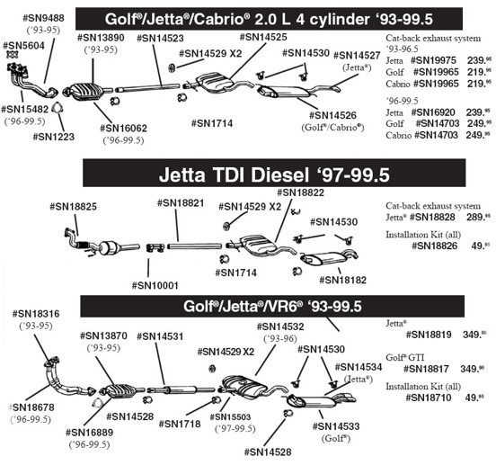 partsplaceinc com vw parts exhaust, oxygen sensors, golf iii 2002 vw jetta exhaust diagram at 99 Jetta Exhaust Diagram