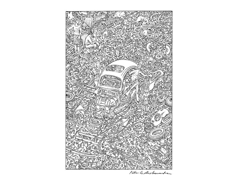 Peter Aschwanden Exploded Beetle Reprint Poster